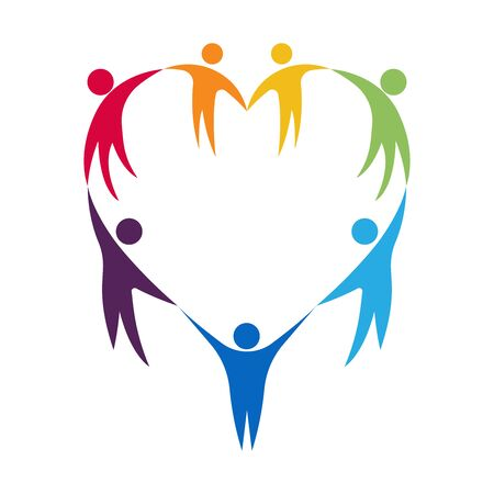 Colorful flat group of people standing together by hand in a heart shaped arrangement, vector illustration logo symbol on white background.