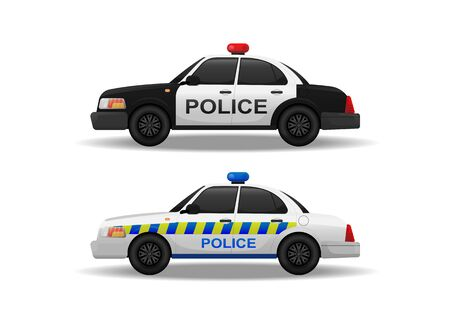 Police car side view on white background, vector illustration, isolated