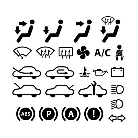 Car dashboard icon and symbol, flat vector icon on white background 向量圖像
