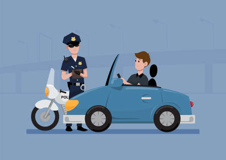 Traffic police officer writing a ticket to giving a driver on his car, flat style vector illustration  イラスト・ベクター素材