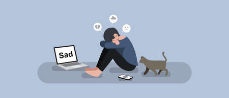 Vector unhappy man sit on the floor with laptop, phone and a cat, sad, depression and heartbroken or social addict concept, flat style design vector illustration.