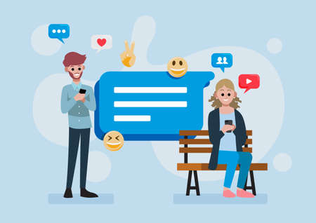 man and woman using smartphone for social media, social media chat or messenger communication concept, vector illustration in flat style with message symbol and emojis Ilustración de vector