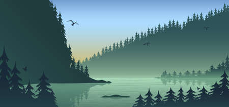 Silhouette forest landscape, flat design with gradient, vector illustration background