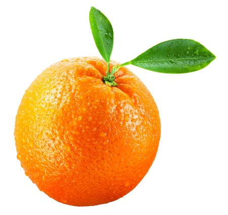 Wet orange fruit with leaves isolated on white Stock Photo