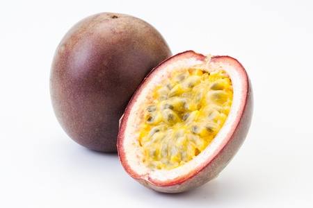 paix�o: Passion fruit oisolated on white  Banco de Imagens