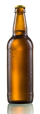 beer bottle: Bottle of beer with drops isolated on white