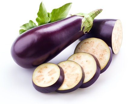 eggplant: aubergine with leaves isolated on white Stock Photo