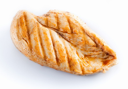 chicken breast: Grilled chicken breast isolated on white