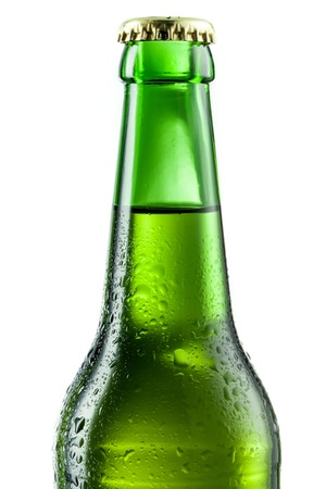 dewed: Bottle of beer with drops isolated on white. Beer background