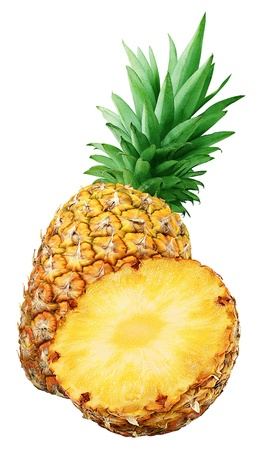 Fresh pineapple an a half isolated on white photo