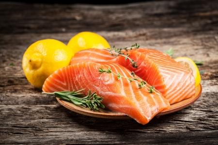 Fresh salmon with lemon Stock Photo