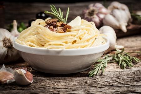 spaghetti with meat and garlic  Organic food photo