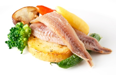 anchovy with vegetables isolated photo