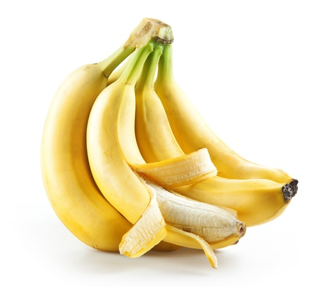 peeled banana: Bunch of bananas with open one isolated on white