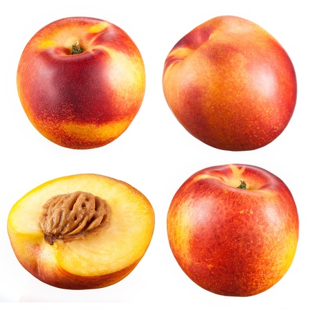 nectarine: collection of nectarines with a half isolated on white background