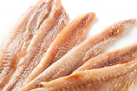 anchovy: anchovy. fillet on white background.  Stock Photo