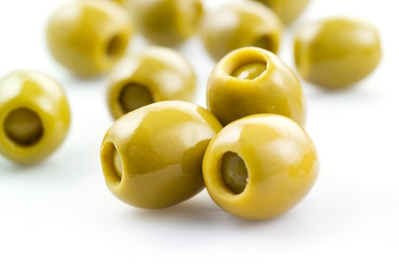 farci: stuffed green olives on white