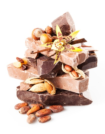 raisins: variety of chocolate  pieces with filberts, almond, raisins, peanuts, cocoa beans , vanilla sticks and flower isolated on white background  close up  With clipping path