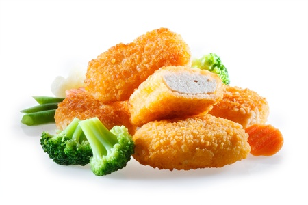 nuggets de pollo: pepitas con verduras Foto de archivo
