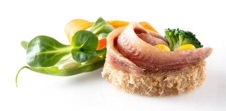 marinate: anchovies fillet with bread and vegetables