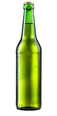 dewed: Bottle of beer with drops on white background.  Stock Photo