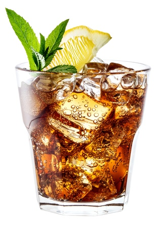 Glass of cola with ice, mint and lemon isolated on white  Stock fotó