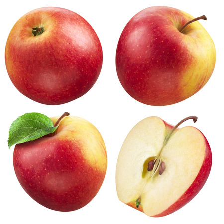 manzana: Manzana roja y una colección media Foto de archivo