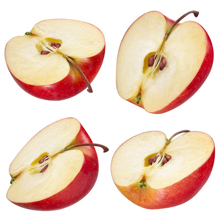 pomme rouge: La moitié de pomme rouge. collection. Avec le chemin de détourage