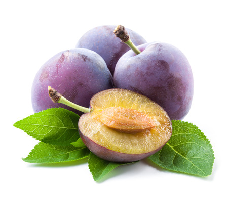 purple leaf plum: Plums and a half with leaves