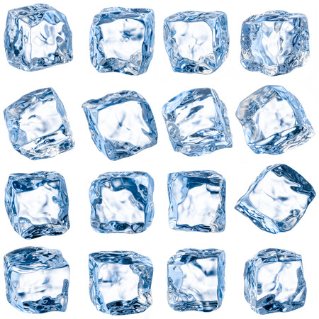 Cubes of ice on a white background. With clipping path photo