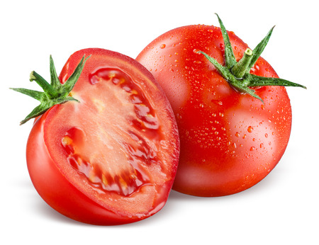 mojada: Tomates. Plenario y medio aislado en blanco Foto de archivo