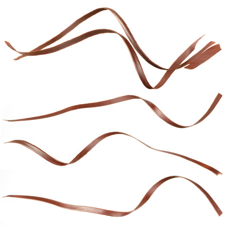Chocolate curl. Collection isolated on white photo