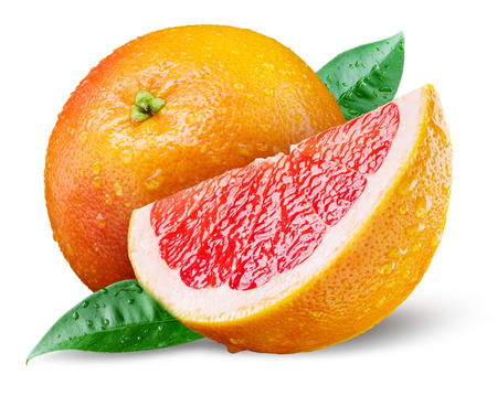 Grapefruit with slice on white background