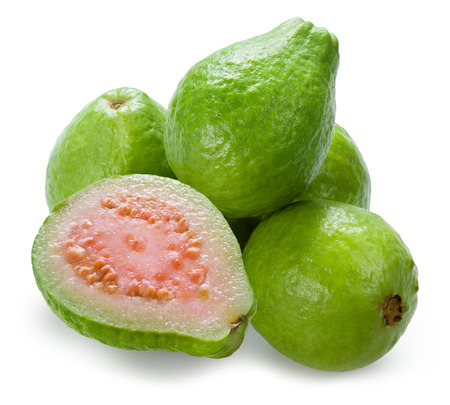 tropical fruit: Guava. Group with a half on white