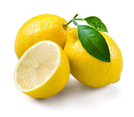 lemon juice: Lemons with leaves on a white background.