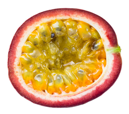 Passion fruit. Half isolated on white background photo