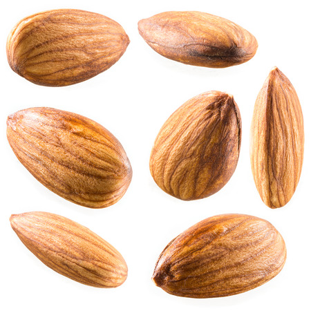 Almonds isolated on white background. Collection photo