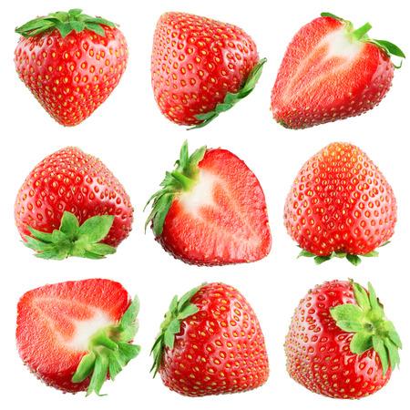 흰색 컬렉션에 딸기 과일