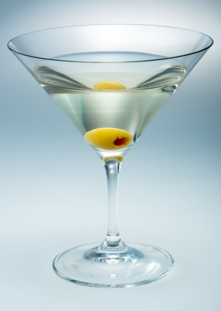 Martini with olive isolated  vermouth