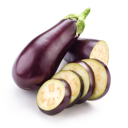violaceous: Eggplant  aubergine  isolated on white Stock Photo