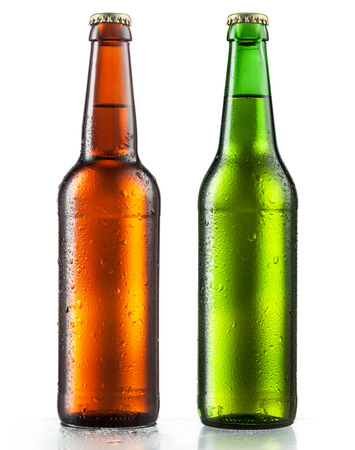 beer bottle: Bottles of beer with water drops on white background Stock Photo