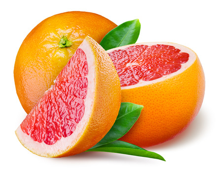half: Grapefruit with a half and leaves on white background