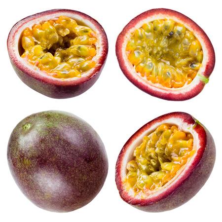 pasion: Fruta de la pasión aislado en blanco Colección