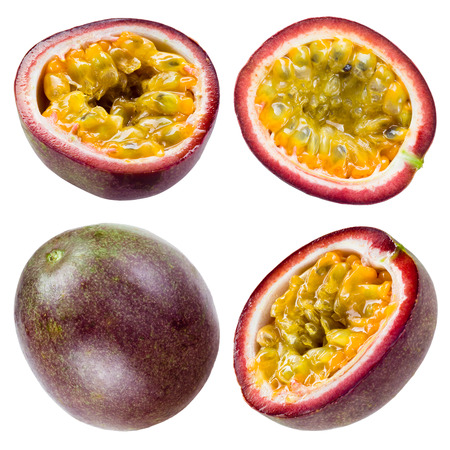 Passion fruit isolated on white Collection photo