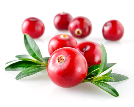 cranberry fruit: Cranberry with leaves isolated on white  Stock Photo