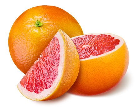 Grapefruit with a half and piece on white background photo