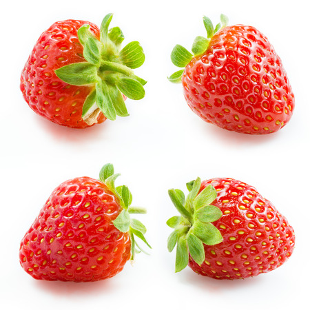딸기 컬렉션 흰색으로 격리
