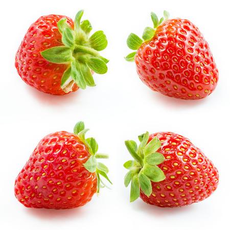 frutilla: Colección de la fresa aislado en blanco