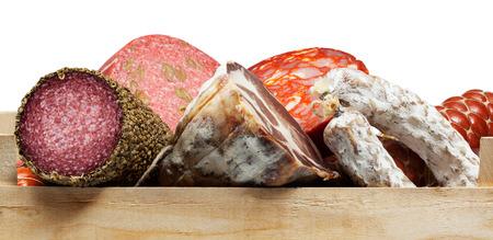 carnes: Surtido de embutidos, salchichas de variedades Foto de archivo