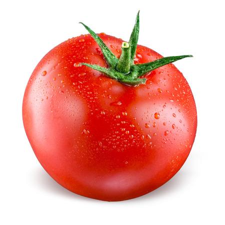 Tomato s kapkami na bílém pozadí